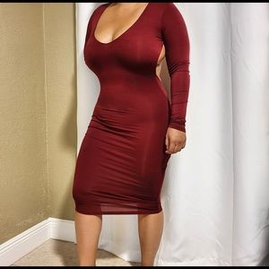Burgundy long knee cocktail dress